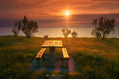Barrikatown (Mimadeo) Tags: picnic table picnictable bench benches sea coast sunset clouds park ocean cliff seat sky wooden view barrika landscape beautiful idyllic peace peaceful tranquil sun paisvasco euskadi vizcaya bizkaia basquecountry tourism trees
