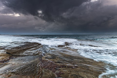 Seascape with Moody Clouds from Rock Platform (Merrillie) Tags: daybreak theskillion nature water terrigal nsw rocky sea clouds newsouthwales rocks earlymorning morning landscape centralcoast ocean australia sunrise waterscape coastal outdoors sky seascape dawn coast cloudy waves