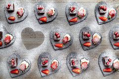 Love the Cakes (Dave Denby) Tags: heart strawberry cream brownie chocolate pattern