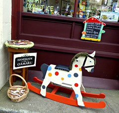 A Toy. (jenichesney57) Tags: toy red rocking horse nz town oamaru shop sweets toys handcrafts spots colour white