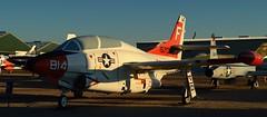 USN North American T-2C Buckeye jet trainer, c1968 - Pima Air & Space Museum, Tucson, Arizona (edk7) Tags: nikond3200 edk7 2013 usa arizona tucson arizonaaerospacefoundation pimaairspacemuseum unitedstatesnavy usn usnavy northamericanaviation northamericant2cbuckeye sn157050 c1968 multipurpose tandemseat carriercapable intermediate advanced jet trainer twinengine twoseat plane airplane aviation aircraft military coldwar generalelectricj85ge4turbojet2950lbf