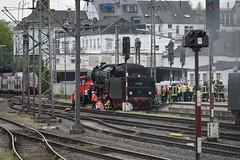 Trapped (davidvines1) Tags: railroad railway rail train steam locomotive tender trier station platform dampsektakel plandampf germany firecrew ambulancecrew emergencyservices