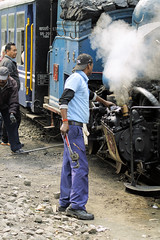 Oiling round (gooey_lewy) Tags: darjeeling himalayan mountain railway steam tour magazine india narrow gauge sharp stewart b class 040 tank saddle well loco locomotive train rail indian steep hill cart road west bengal charter dhr dhmr joy toy forest jungle 782 sun light railroad tree people grass haze mist tindaria works tindharia up staff crew sukna station oiling point cylinder spanner