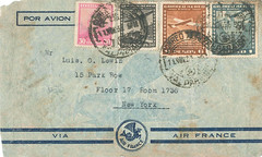 Via Air France (partway) 1937 Cover, from Valparaiso (Chile) to New York (USA), front (afvintage) Tags: luisoscarlewin airfrance valparaiso newyork chile usa