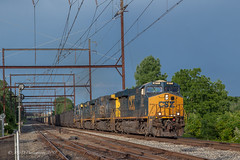 CSX N731 @ Neshaminy Falls, PA (Darryl Rule's Photography) Tags: 2018 buckscounty csx csxt clouds cloudy coal coaltrain detour diesel diesels freight freightcar freighttrain freighttrains ge june neshaminyfalls pa pennsylvania reroute spring sun sunny trentonsub westbound
