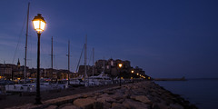 Calvi (Michel Couprie) Tags: europe france corse corsica calvi bluehour night nuit streetlamp port harbor light lighting composition quai pier rocks sea mer seascape water eau canon eos tse24mmf35l couprie hdr citadel citadelle lampadaire