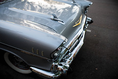 '57 Chevy Bel Air: Front End (Photos By Clark) Tags: california canon2470 unitedstates location northamerica canon5div locale places where escondido us lightroom 57 chevy car restored classic front silver chrome bumper fin whitewalls