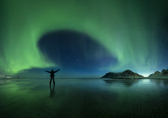 Aurora panorama selfie! (sven483) Tags: skagsanden lofoten norway aurora northern lights borealis flakstad reine leknes winter panorama selfie