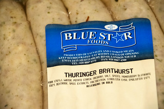 DSC_3600 Smithfield Meat Market London Thuringer Bratwurst Sausage by Blue Star Foods Sold by James Burden Ltd at £6.50. Sadly only 70% meat