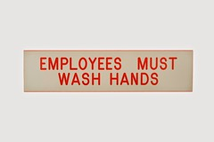 Stock Images (perfectionistreviews) Tags: color indoor studio horizontal stilllife whitebackground nobody cutout isolated hands sign wash employees employee cleanliness clean sterile healthiness healthy health sanitation sanitary germ disease word letter copyspace closeup regulation signsandsymbols