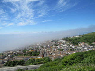 Fog rolling in from the sea at Portland, Dorset
