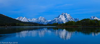 View of Mt. Moran from Oxbow Bend at Dawn