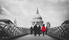 Lady in Red (Harshit.Verma) Tags: london londonist londonstreets streetphotography bnw blacknwhite selectivecolor red londonlife southbanklondon timeoutlondon thisislondon stpauls milleniumbridge riverthames streetsoflondon ladbiblephotographers prettylittlelondon canon canonuk thisisengland