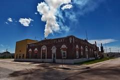 Kimball Public Works Building (Explored) (CTfotomagik) Tags: kimball nebraska lightandpower panhandle smokestack smoke sky brick building explore