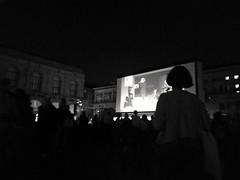 Cineforum. (silviamaggi) Tags: bologna piazzamaggiore italia italy emiliaromagna cinema cineforum repubblica eventirepubblica bw biancoenero prospettive