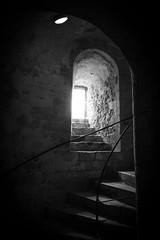 Light & Dark (Future-Echoes) Tags: 2018 bw blackandwhite castle dark dover dovercastle handrail kent light shadow stairs stairwell steps stone window england unitedkingdom gb