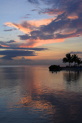 Jamaican Sunset (Anthony Mark Images) Tags: jamaica westindies caribbean mobay montegobay beautiful pretty lovely gorgeous sunset evening clouds sky water ocean caribbeansea ripples reflections palmtrees peopleswimming sundaylights peaceful tranquil placid