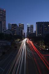 Downtown Los Angeles, Figueroa St. (STERLINGDAVISPHOTO) Tags: figueroa downtownlosangeles dtla bunkerhill skyscraper losangelesskyline downtownskyline nightphotography nightshots lighttrails longexposure sonya7rii sonylenses 2470 twilight