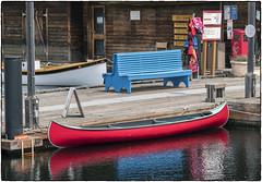 Red Canoe & Blue Bench (NoJuan) Tags: 45200mmpanasonicvario vario45200mm olympuspenf microfourthirds micro43 m43 mirrorless centerforwoodenboats seattlewa washingtonstate pacificnorthwest lakeunionseattle water reflections waterreflections canoe bench emptybench bluebench