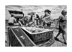 Burial in a beautiful day (Jan Dobrovsky) Tags: leicaq moldovans odesa people reallife outdoor rural countryside ukraine burial traditions blackandwhite funeral monochrome village countrylife document coffin car