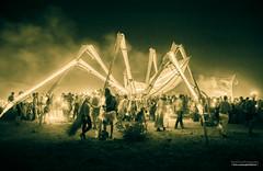 Spider-i, #6 (fried oreo cookie) Tags: midburn burningman israel desert art artistic dream dehaze blur splittone smoke fire spider giantspider people party