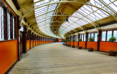 Scotland West Coast the walkway down to the ferries for the island of Bute and the ticket office Wemyss Bay Pier 26 May 2018 by Anne MacKay (Anne MacKay images of interest & wonder) Tags: scotland west coast walkway ferries ticket office wemyss bay terminal xs1 26 may 2018 picture by anne mackay