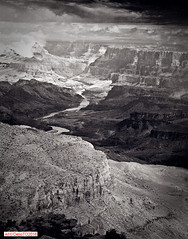 Stormy weather on the Colorado River (DelioTO) Tags: 4x5 blackwhite desert f317 fall holiday landscape natparks panoramic pinhole foma100 trails trip usa