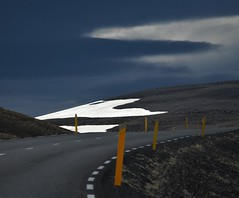 Road, Iceland (Ian@NZFlickr) Tags: ice iceland cloud road white blue yellow snow marker curve