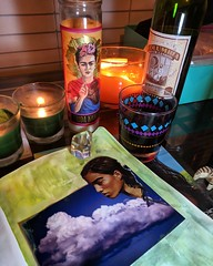 Power's out! Making stuff by candle light ️✨️ (STARZGRRL) Tags: art candle frida artistspace collage collageart powersout artjournal makeart