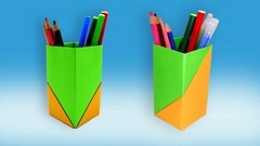 How To Make Paper Pencil Holder (Box) | Origami Pen Stand | Paper Pen Holder DIY Easy Handmade (LiaFloral) Tags: how to make paper pencil holder box | origami pen stand diy easy handmade