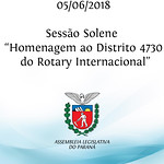 Sessão Solene em homenagem ao Distrito 4730 de Rotary Internacional