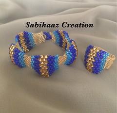 #Peyote stitch #bracelet & #ring. Love the shades of blur 💖 (Sabihaaz Creation) Tags: peyote bracelet ring