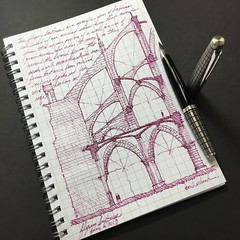 Flying buttress study (schunky_monkey) Tags: illustration art penandink ink pen fountainpen details journal sketchbook drawing draw sketching sketch engineering architecture support building structure flyingbuttress