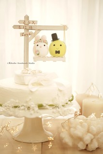 Handmade Bunny, Rabbit and Turtle MochiEgg withwooden sign, swing and the shell base wedding cake topper, pets wedding cake decoration ideas