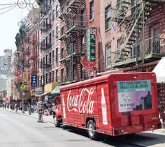 Chinatown Coke (GeraldGrote) Tags: usa fireescape manhattan delivery truck newyork signs cocacola city chinatown us