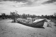 Lanfair Road, Mojave National Preserve, California (paccode) Tags: solemn d850 sand landscape desert bushes brush blackwhite hills california abandoned wreck monochrome scary dirtroad boat nationalpark cactus creepy mojave forgotten serious quiet unitedstates us