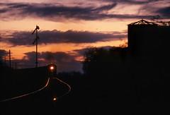 Sunset on the Sunset Route (Moffat Road) Tags: southernpacific sp freighttrain silhouette semaphore signal sunsetroute sunset lowerquadrantsemaphore pantano arizona train locomotive railroad az ge b307 7821