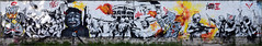 Convergence des luttes (HBA_JIJO) Tags: streetart urban graffiti paris art france hbajijo wall mur painting peinture lask twecrew spray panorama twe urbain skela lutte revolte charactere dictature democratie revolution anonymous donald trump kim jongun gun