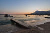 Croatian sunset (danjama) Tags: croatia omis sunset landscape seaside goldenhour bluehour graduated dock bay beach beachsunset canon6d orange blue yellow canon fullframe split croatiasunset seascape rocks mountains structure concrete pebbles shingle sand