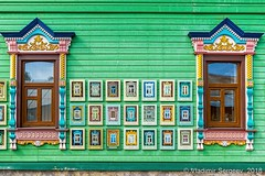 Museum of platbands. City Kirzhach Vladimir region (wws001) Tags: russia rusland russian museum platbands kirzhach vladimirregion vladimir region wooden patterns pattern ornament exhibition exhibit photo carved art green wall window architecture folkcraft folk craft old decoration ornamentation