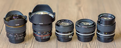 Manual Focus Rules! (ruifo) Tags: nikon d700 nikkor af 85mm f14d five manual focus lenses bower 8mm f35 fisheye 14mm 28mm 50mm f12 f25 gear lens lente objetiva glass