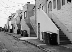 Outer Mission // San Francisco (bior) Tags: fujifilmga645zi ga645zi ilfordfp4plus125 fp4 fp4plus ilfordfilm sanfrancisco 6x45cm 645 mediumformat filmphotography film outermission homes houses rowhouse street powerlines garbagecan