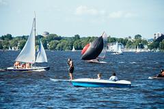 Busy Day at the Lake (Javier Pimentel) Tags: standuppaddling paddling hamburg velero sailboats deutschland paddleboat germany alsterlake hamburgo alster alemania sailboat aussenalster de