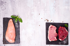 Different types of meat on dark slate cutting board. Lean proteins. (lyule4ik) Tags: meat raw cuisine chicken cooking pork beef preparation background fillet chop cut food steak fresh board uncooked butcher meal isolated nutrition diet top view breast above muscle bbq path barbecue boneless kitchen up culinary barbeque condiment garnish grilled ingredients mock prepare red
