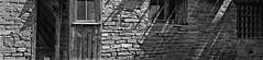 ANOTHER BRICK IN THE WALL (Rob Patzke) Tags: wood brick glass wall door window bw monocchrome texture tones shadows mortar stone lumix lx100 panansonic shade cof030mari cof030ettigirbs cof030dmnq cof030ally
