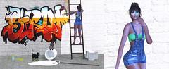 @Revelation , @Joplino (Sweet Fashion Girl and Boy) Tags: body maitreya lara head catwa catya skin egozy ivy hair monso miyeon make lemomo paint mess clothing overalls revelation elia sneakers reign arianna accessories spray versov makettov can purple dog mooh lipstick puppy cat black pose click poses lovely ladders backdrop joplino paintjob