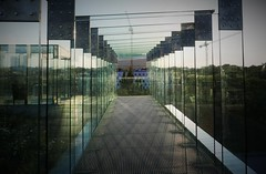 Glas walkway (roomman) Tags: 2018 lublin city town weekend trip centrum spotkania kultur kulturalna culture cultural centre art acrhiecture style design building galery walk walking walkway glas green sun sunny mirror evening light atmosphere