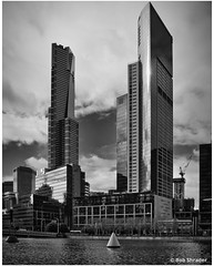 Two Towers (PEN-F_Fan) Tags: monochrome monotone microfourthirds mirrorless pencamera photoborder olympuspenf on1photoraw lens luminar2018 freshwaterplace mft mzuiko12100mmf40pro m43 southbankvictoria3006 style sky skyscraper yarrariver zoomlens type water postprocessing preset photoedge photoframe raw river processingsoftware australiaandoceania australia brightstonework blackwhite alienskin 2southbankblvd architecture alienskinexposure exposurex3 eurekatower filmlook filmeffect camera building effect clouds melbourne victoria