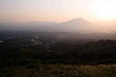 Spring Sunset (kat-taka) Tags: ã¬ãã landscape farm farmland mountain sunset magic paddy fog tree