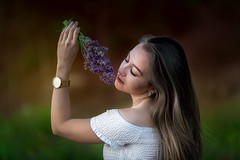 Fragrance (Irena Rihova) Tags: czphoto czechrepublic canon beautiful beauty fashion model relaxing relax fragrance natural blonde hair longhair face eyes closedeyes color spring flowers flower romantic feminity young girl lady woman portret portrait portraiture